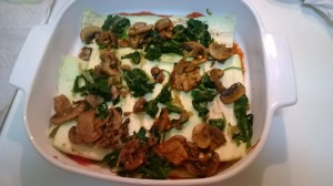 layer sauce, eggplant, mushroom and spinach