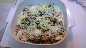 layer sauce, eggplant, mushroom, spinach and cheese