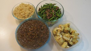 quinoa, lentiils,string beans with mushrooms and roasted cauliflower